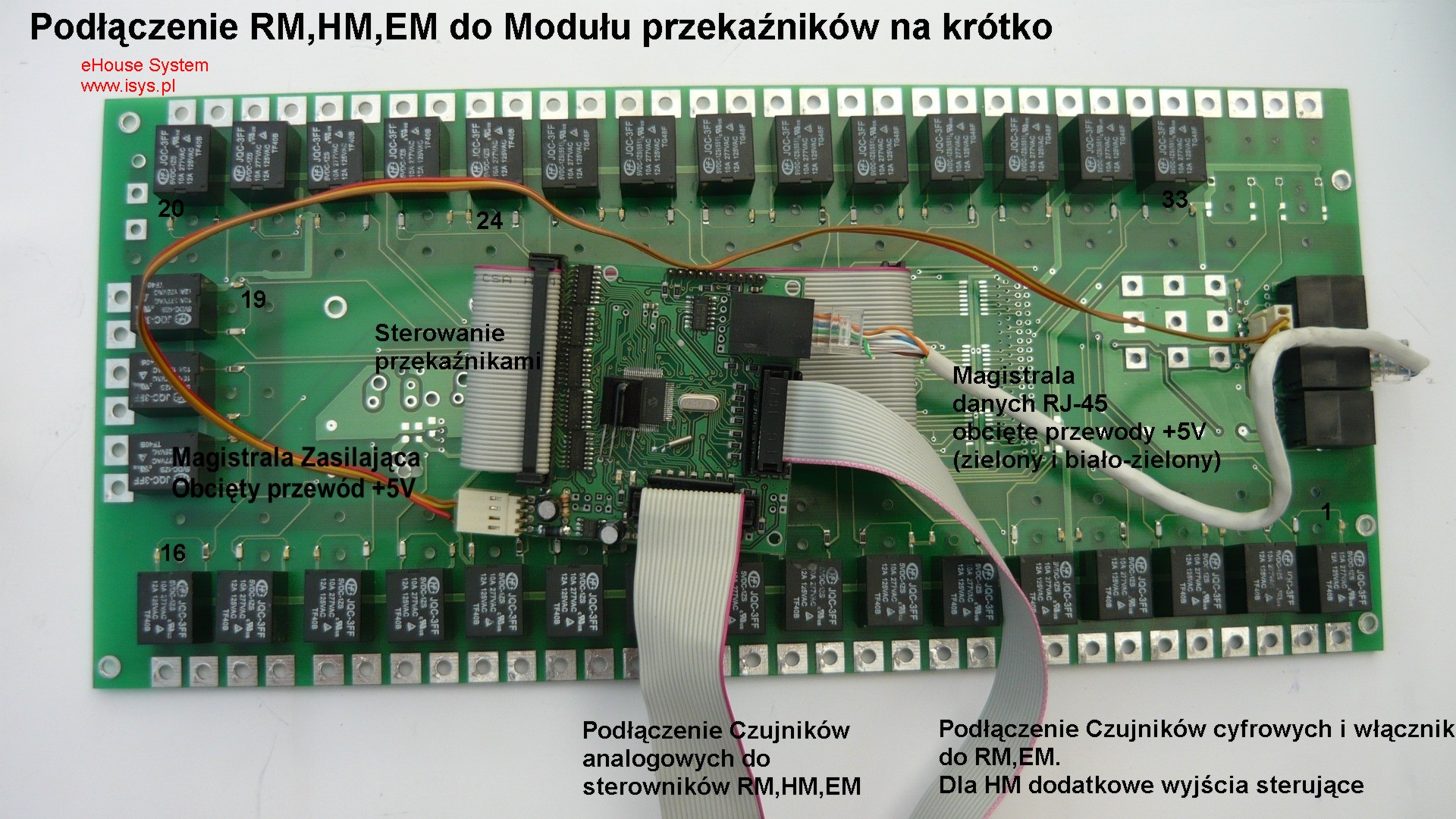 pastato automatizavimo eHouse - Prisijungimas montavimo segmente RM , EM , Relės modulis HM trumpai + Enter