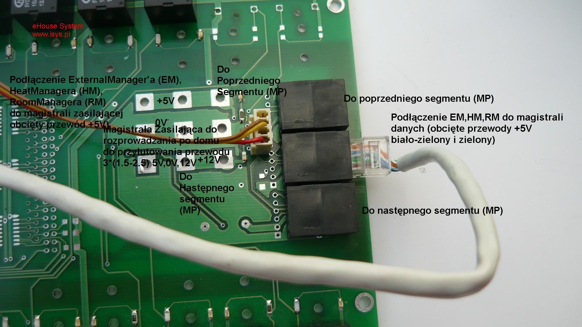 pastato automatizavimo eHouse - Duomenų magistralės ryšį ir maitinimo tarp RM , HM , EM ir relinio modulio