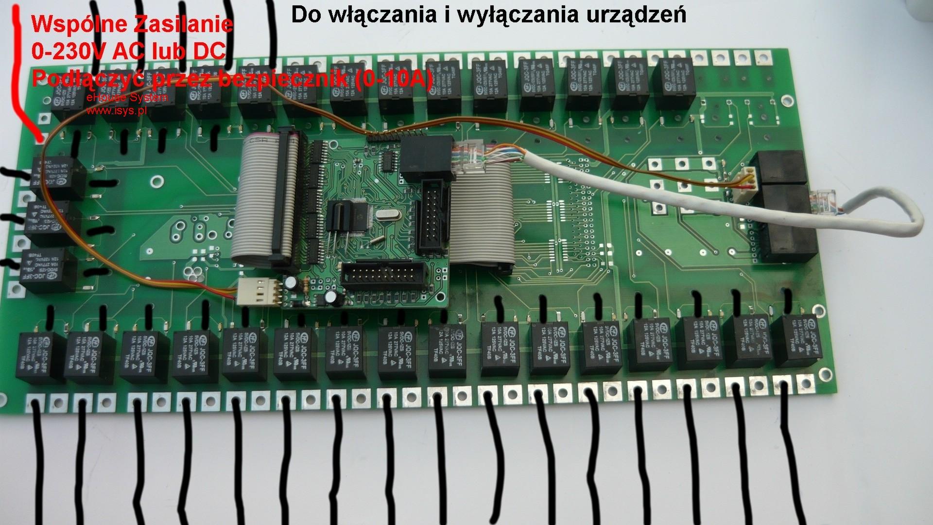 ehouse automatismes du bâtiment - RM pilotes de connexion , EM , HM module mis en relais de câblage (bus de données , Bus d'alimentation , signaux de commande , raccorder les récepteurs) un segment d'une courte