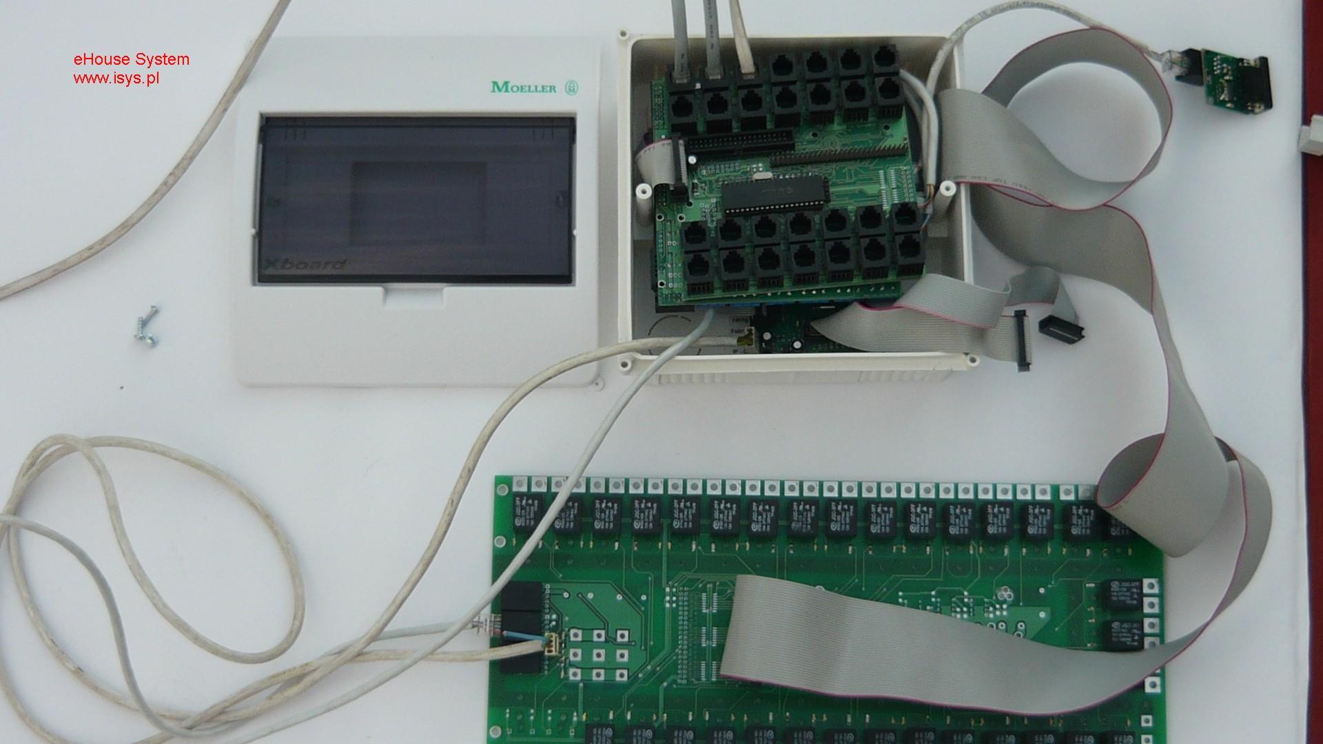 Bâtiment intelligent , ehouse à domicile - Système de sécurité de connexion avec le module de relais et le convertisseur RS232 - 485