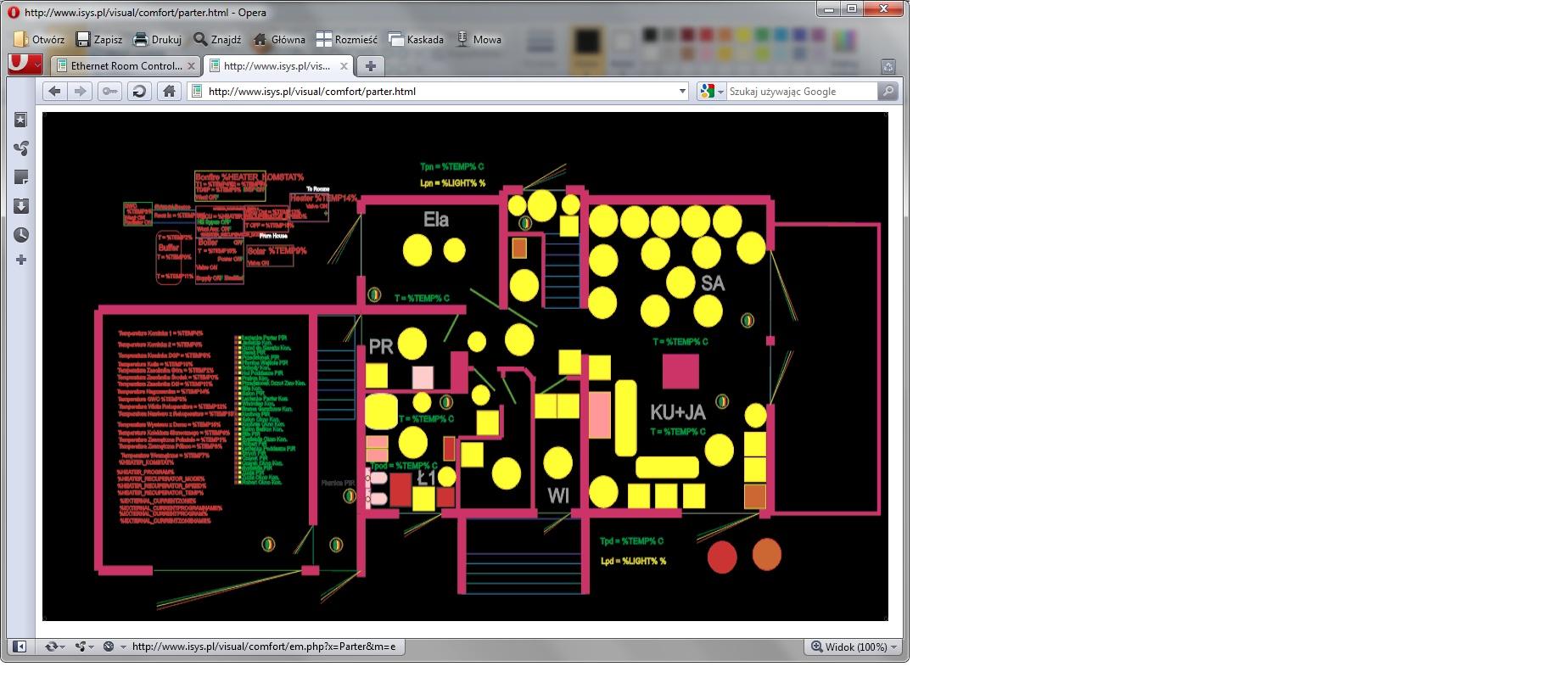 eHouse bahay pag-aautomat control gusali na may isang www browser (Mapa HTML) na bersyon ng kaginhawahan para sa parehong proyekto