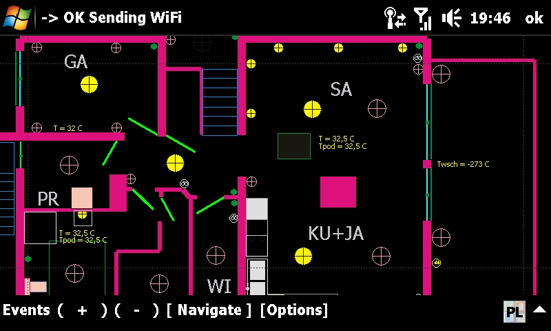 Inteligentny dom, budynek eHouse - sterowanie graficzne z wizualizacją stanu systemu z PDA, telefonu komórkowego, TouchPhone, SmartPhone. Aplikacja Windows Mobile sterowanie bezpośrednie przez Internet, WiFi, SMS, eMail