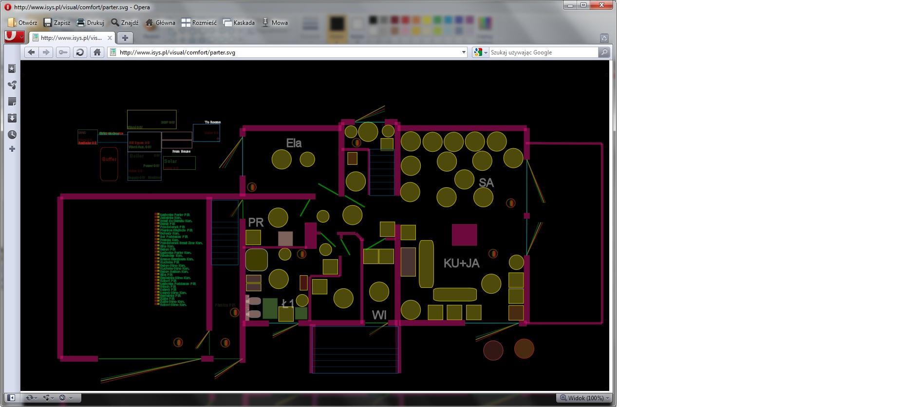 eHouse home automation . Kontrol af bygningen via en webbrowser (SVG) version af komfort til det samme projekt