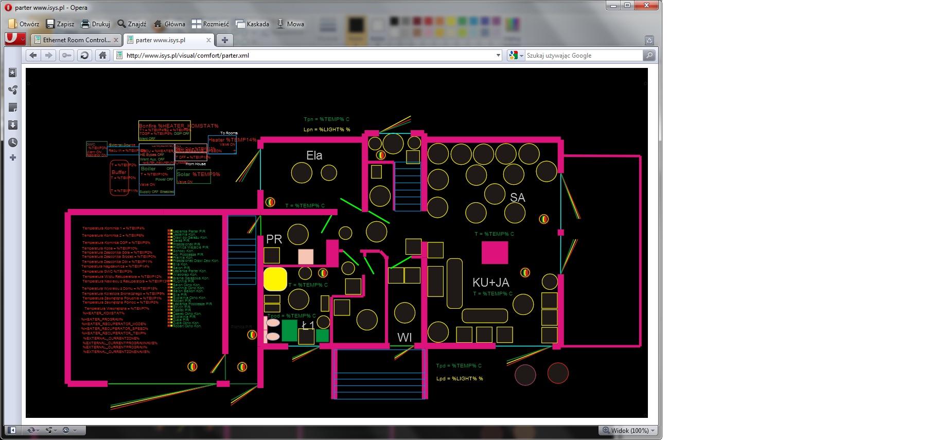 Inteligentny dom eHouse. Sterowanie przez przeglądarkę WWW (XML - SVG)