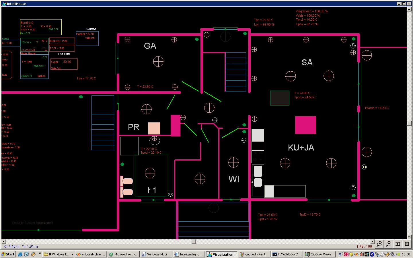 building automation controllo eHouse casa PC e Windows XP pannelli , Vista , 7 Visualizzazione PC