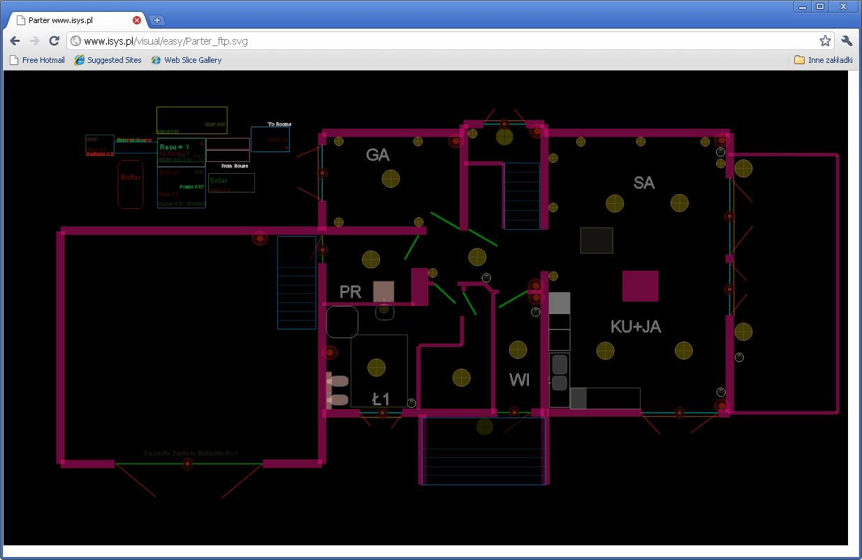 eHouse home automation . Kontrol af huset via en webbrowser (SVG)