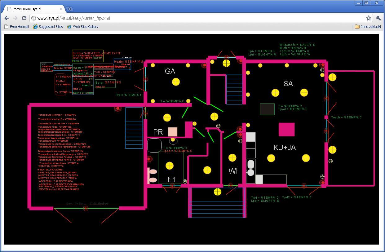 eHouse acasă de automatizare . Controlul a clădirii prin intermediul unui browser web (XML - SVG)