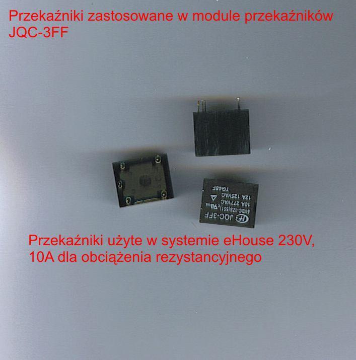 Przekaźniki zastosowane w systemie do włączania urządzeń elektrycznych .