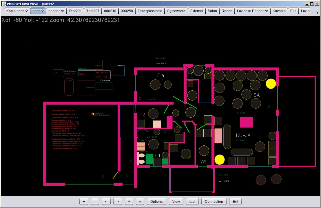 Smart home eHouse control and graphic visualization of Java