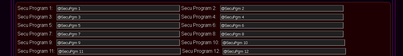 Customized eHouse.PRO system configuration - Secu Programs Names