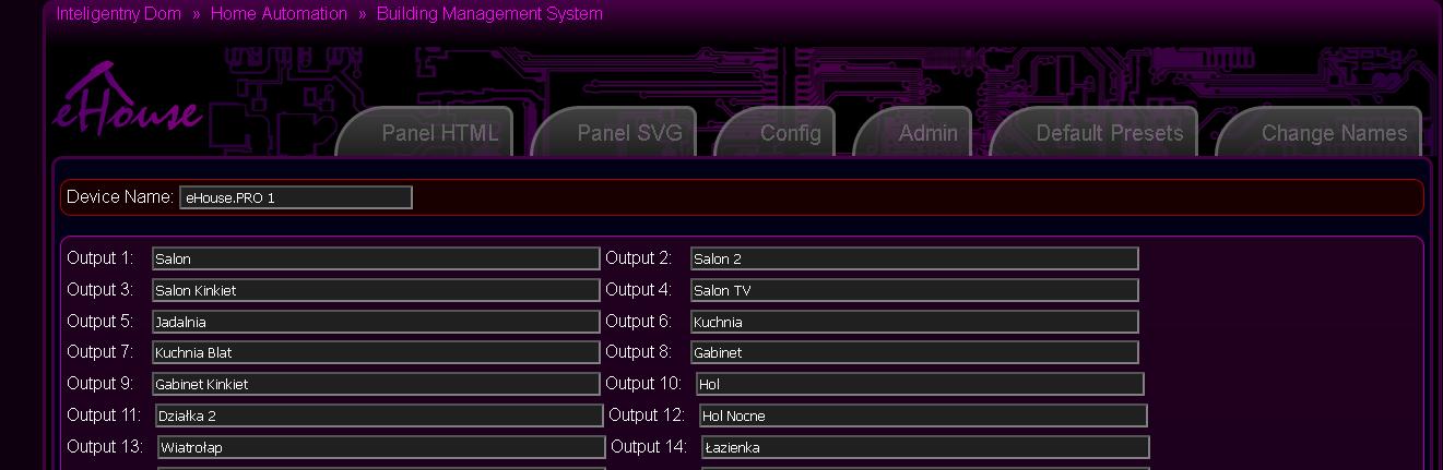 Customized eHouse.PRO system configuration - Output Names