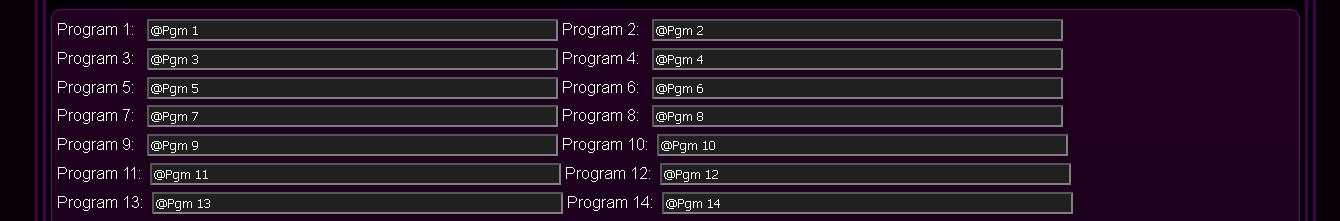 Customized eHouse.PRO system configuration - Programs Names