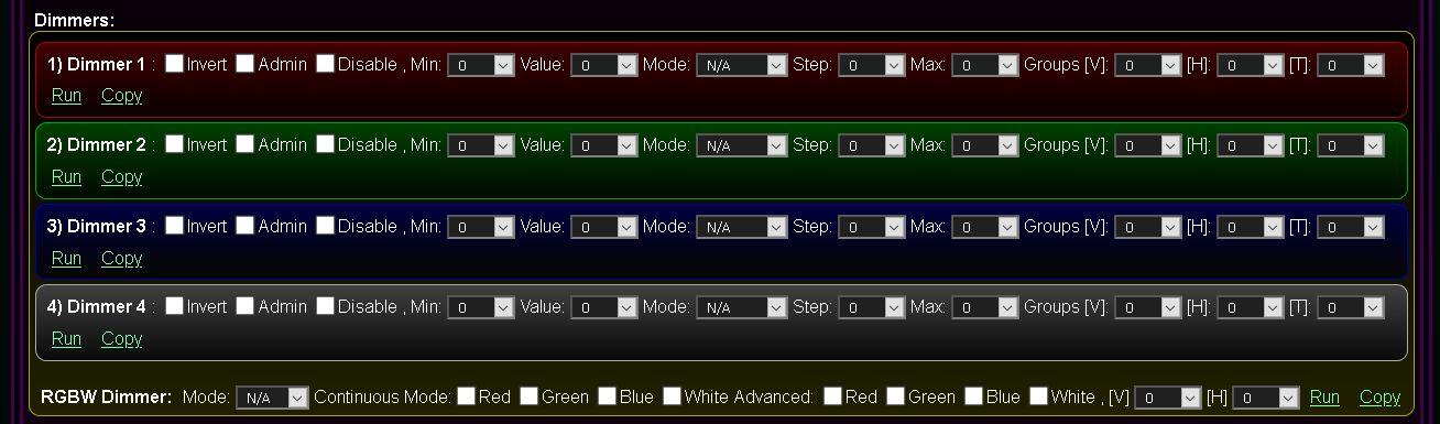 Kastomizowany ekran konfiguracji i inicjalizacji systemu @Light, eHouse WiFi - Konfiguracja wyjść ściemniaczy