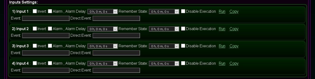 Kastomizowany ekran konfiguracji i inicjalizacji systemu @Light, eHouse WiFi - Konfiguracja wejść binarnych