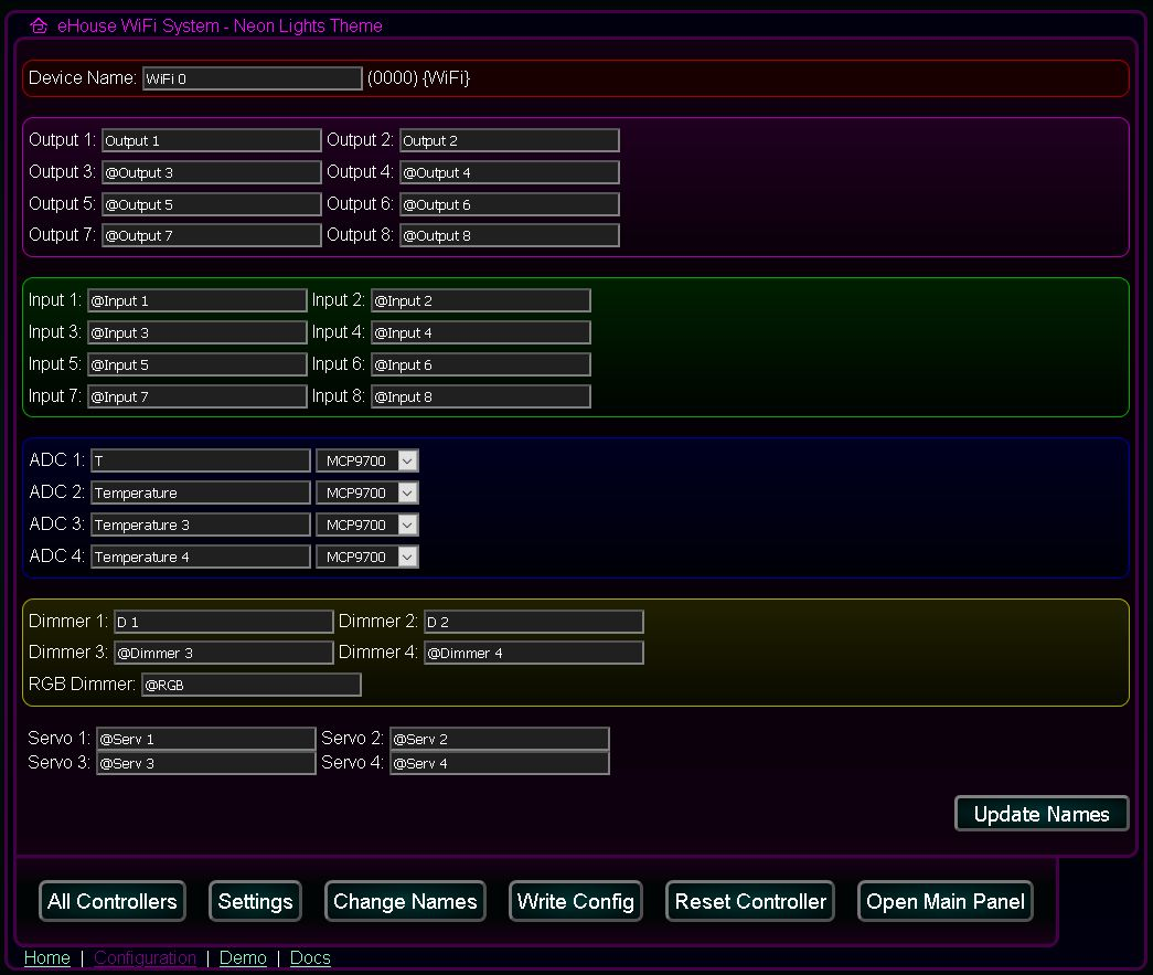 Kastomizowany ekran konfiguracji i inicjalizacji systemu @Light, eHouse WiFi - Nadawanie nazw dla szablonów (domyślnych) i indywidualnych sterowników