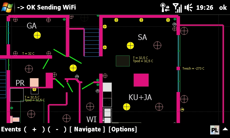 Building Automation eHouse - home control - graphically with visualization of the system status with PDA, mobile phone, Touchphone, SmartPhone. Windows Mobile application
