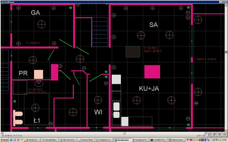 大厦从PC和Windows XP面板自动化控制eHouse图形, Vista的, 7可视化PC的规模变化