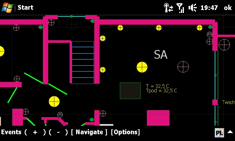 An intelligent eHouse building - graphical control of lighting and heating with visualization of the system status with PDA, mobile phone, Touchphone, SmartPhone. Windows Mobile application