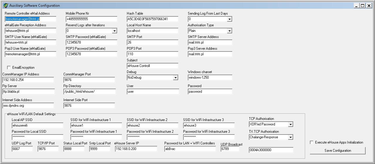 Configurazione del sistema LAN / WiFi eHouse e esportazione dei dati di visualizzazione
