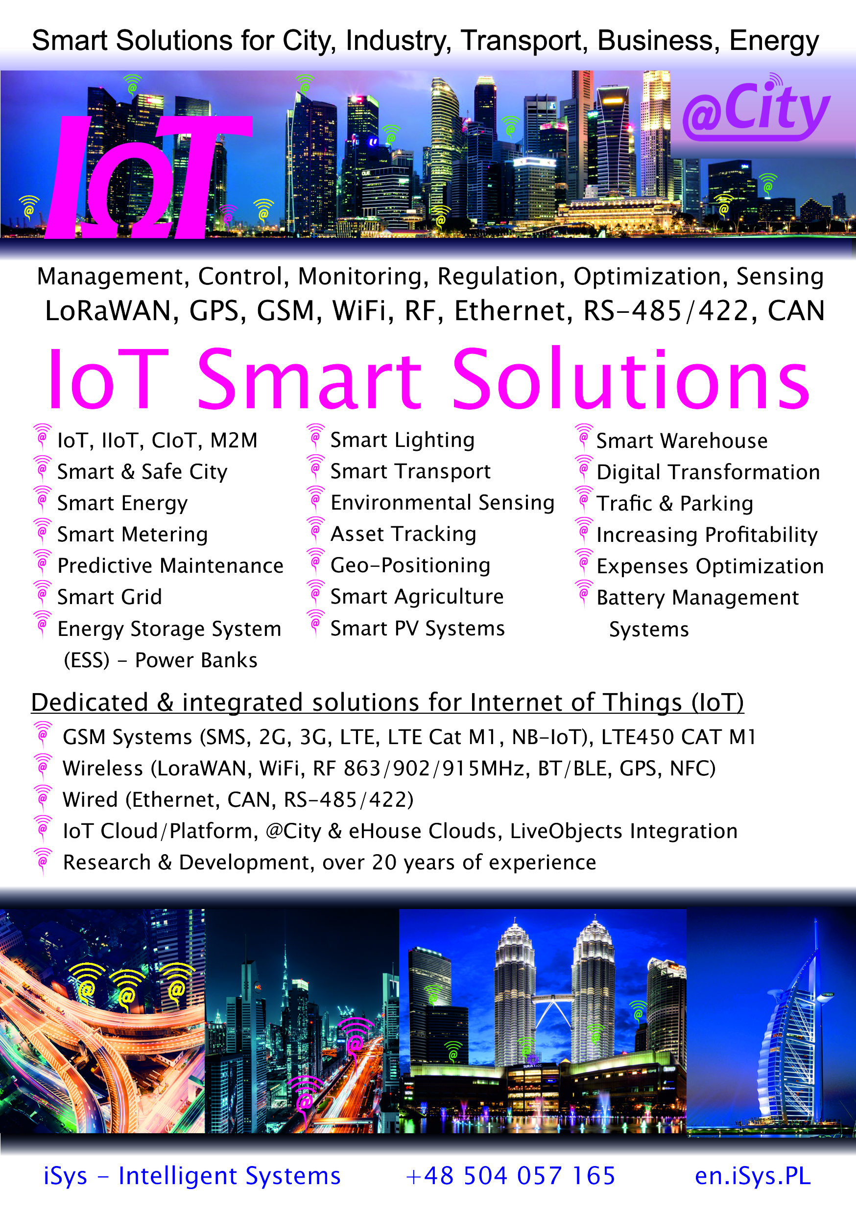IoT/IIoT LoRaWAN, GSM, WiFi Solutions and Applications